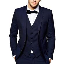 цены на Classic Design Navy Blue Groom Tuxedos Notch Lapel Two Button Groomsmen Mens Wedding Dress Excellent Man Suits(Jacket+Pants+Vest  в интернет-магазинах