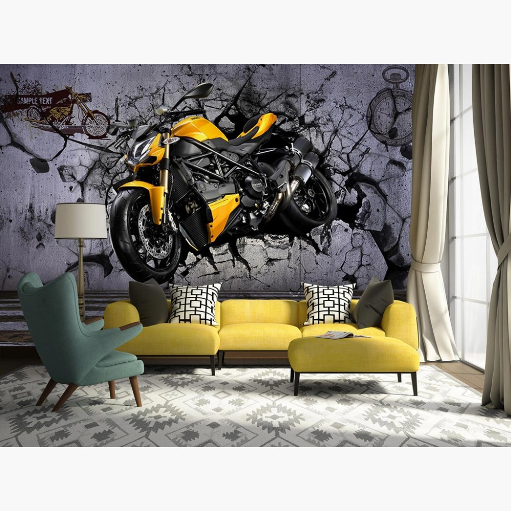 Conscientious Motorcycle Wall Murals Street Graffiti Photo Wallpaper Living Room Bar Decor Wallcoverings 3d Self Adhesive Vinyl/silk Wallpaper Lustrous Back To Search Resultshome Improvement