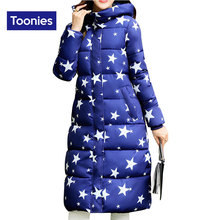2017 Winter Street Clothing Parkas Woman Stars Printed X-long Lengthened Cotton Padded Slim Hooded Down Jacket Female Outwear