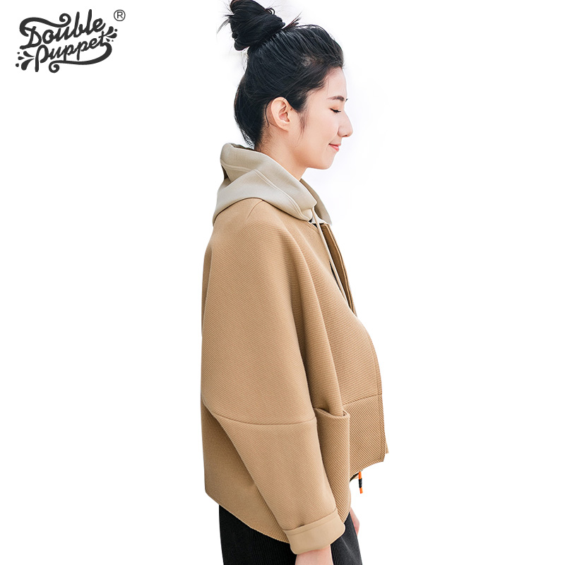 Double puppet jacket women coats loose casual 2017 spring new open stitch full sleeve bomber high quality outerwear 371002