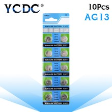 10pcs AG13 1.5V LR44 L1154 RW82 RW42 SR1154 SP76 A76 357A pila lr44 SR44 AG 13 Alkaline Button Cell Coin Battery(China)
