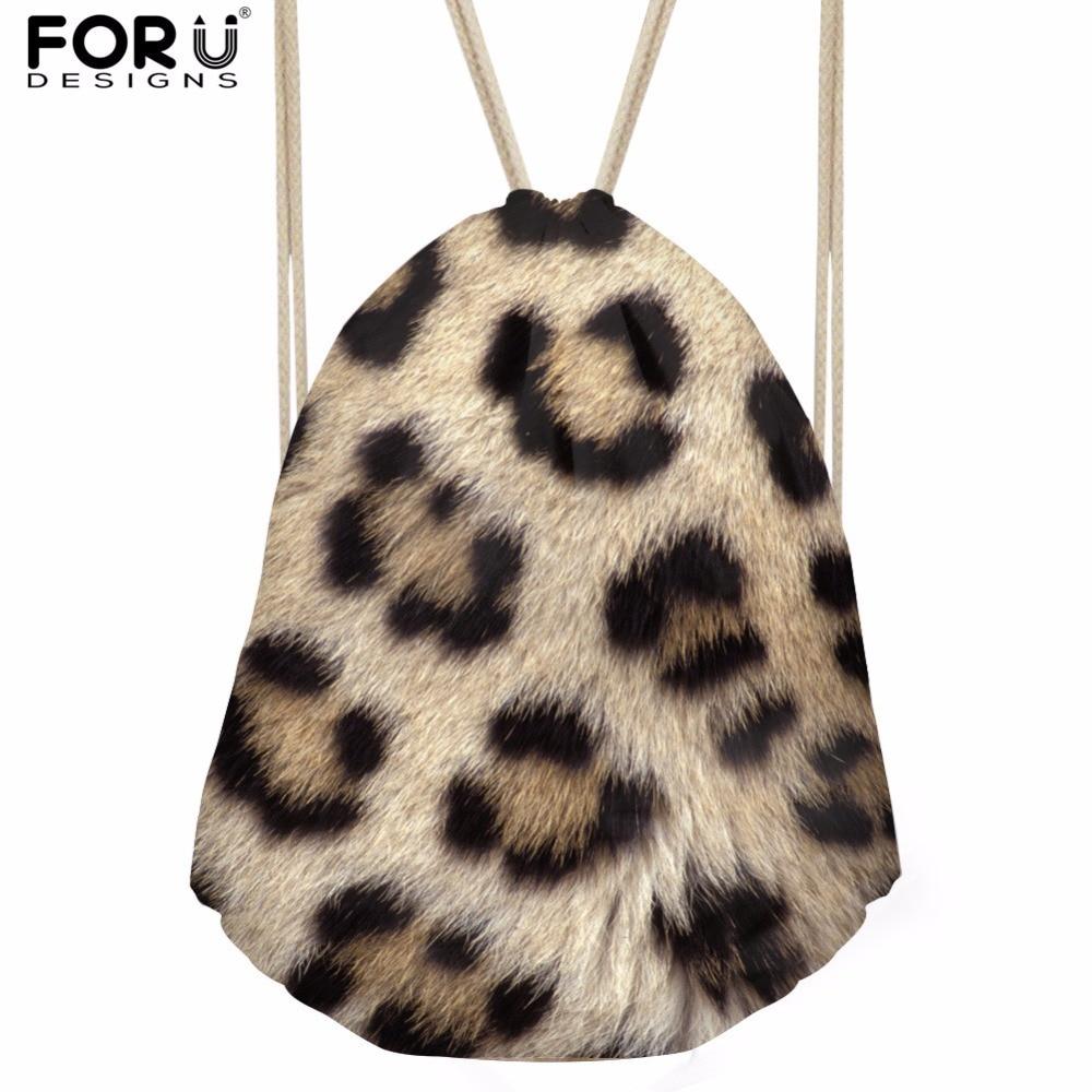 FORUDESIGNS Fashion Leopard Brand Design Womens Backpack Small Drawstring Bag Girls Boys Tote String Shoulder Bagpack Bolsas