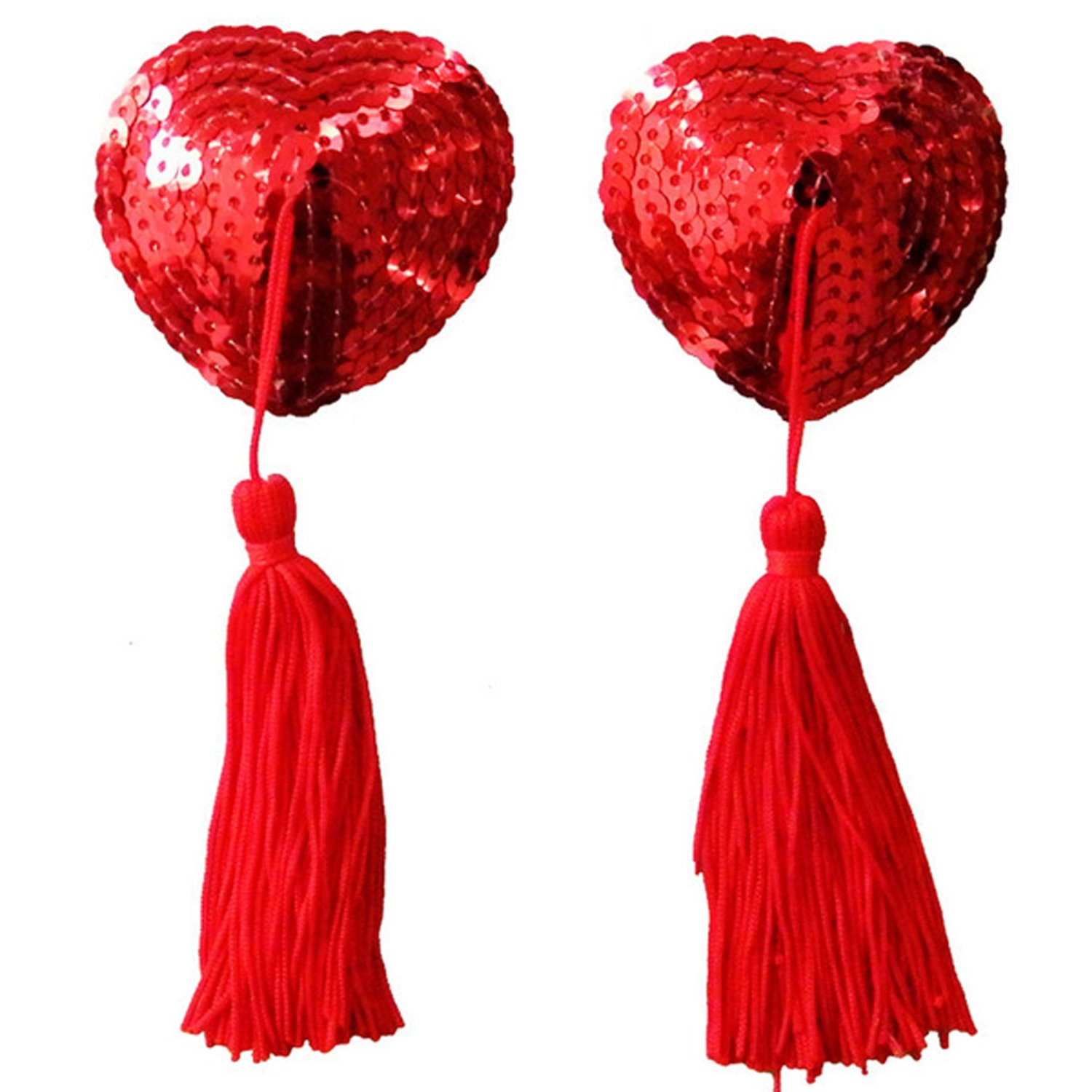 Ladies Sexy Heart-shaped Pasties Sequin Tassel Nipple Cover- Red
