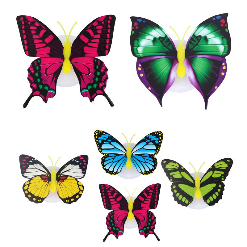 5 Pcs Paste Butterfly Wall Sticker With Mini Night Light LED Energy-Saving Decorative Lamp Bedside Bedroom Decor Random Color