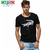 Cartelo Crocodile Pattern Printed Men S T Shirt Cotton Funny Animal Short Sleeved Summer Round Collar