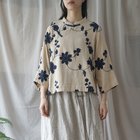Embroidery Floral Vintage Shirts Spring Blouses Women Cloths Spring New Stand Seven Sleeve Chinese Style Tops