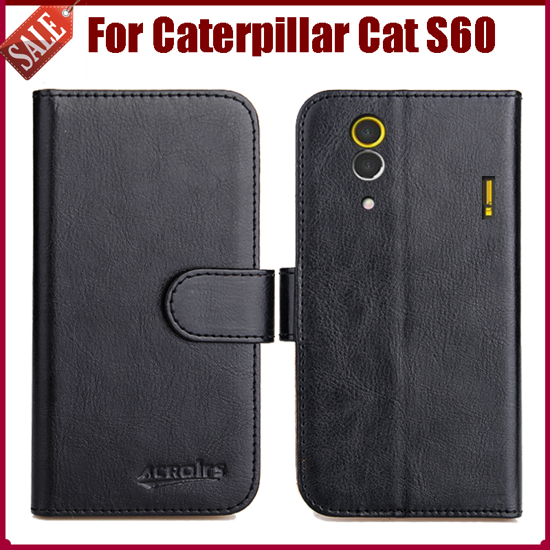 Nyhet 6 farger Flip Leather Exclusive Protective Cover Case for Caterpillar Cat S60 veske