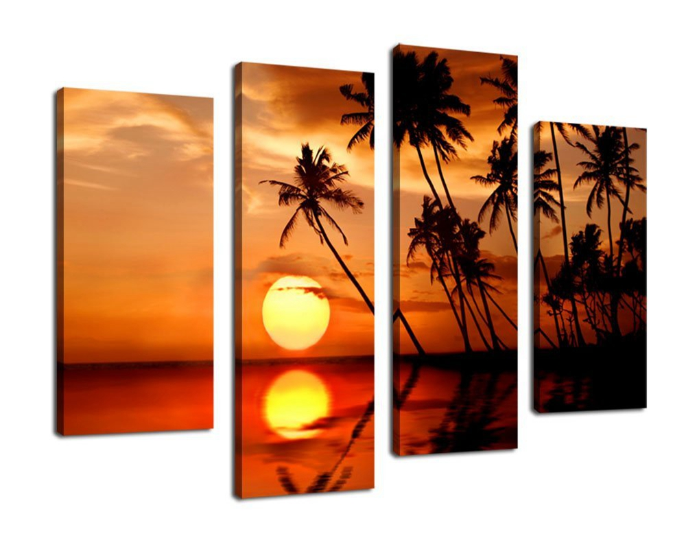 Canvas Wall Art Sunset Sea Nature Painting Framed 4 Piece Palm Trees on Island Bay Ocean Art Pictures Living Room Bedroom Decor