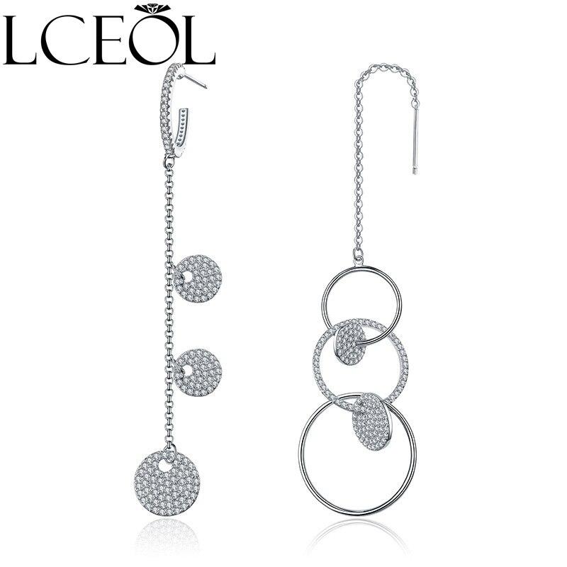Lceol Новый Дизайн Серьги белого золота Цвет Стиль длинные Висячие цепи круг с полной хрустальные Асимметричная Висячие серьги для женщи