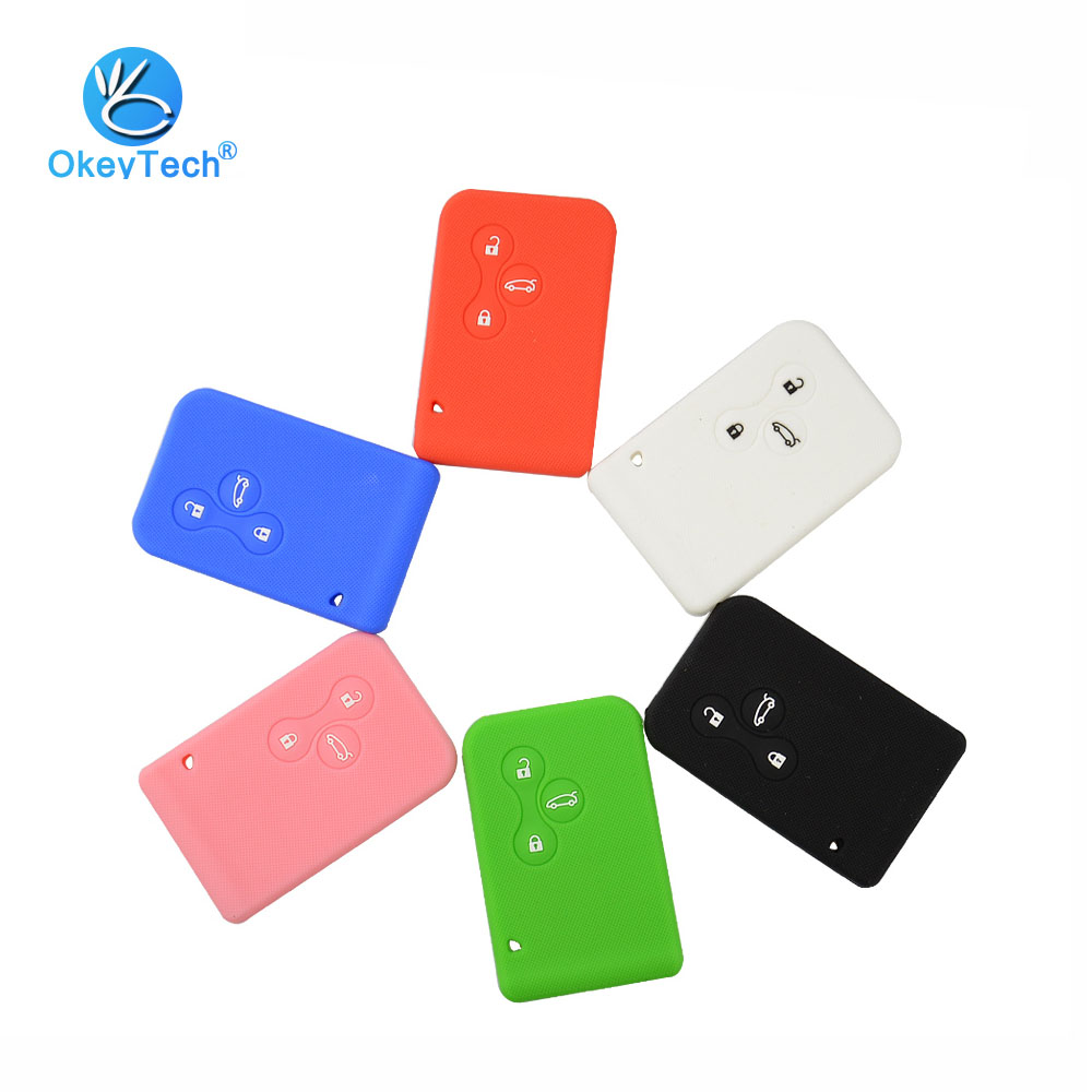 OkeyTech Silicone Rubber 3 Button Car Key Cover Case Protector Skin Smart Card For Renault Clio Logan Megane 2 3 Koleos Scenic brand new high quality remote key renault megane smart card 3 button 2 small car key smart card for renault key shell megane
