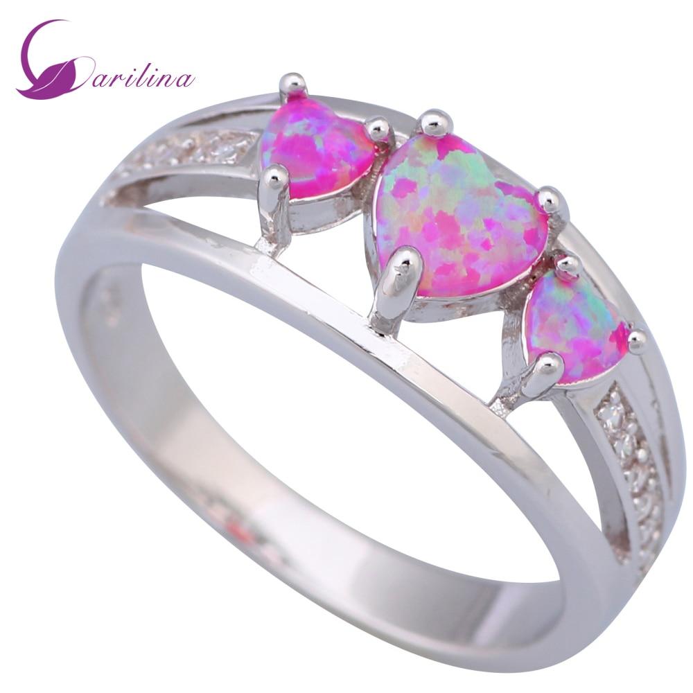 01a959431814 Garilina aniversario anillos para mujer rosa del ópalo de fuego 925 joyería  de plata Año Nuevo regalos de navidad anillo R485