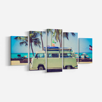 5 Pieces Green BUS And Palm Trees Print poster Beach Wall Art Landscape Canvas Painting Wall Picture For Home Decor Frameless