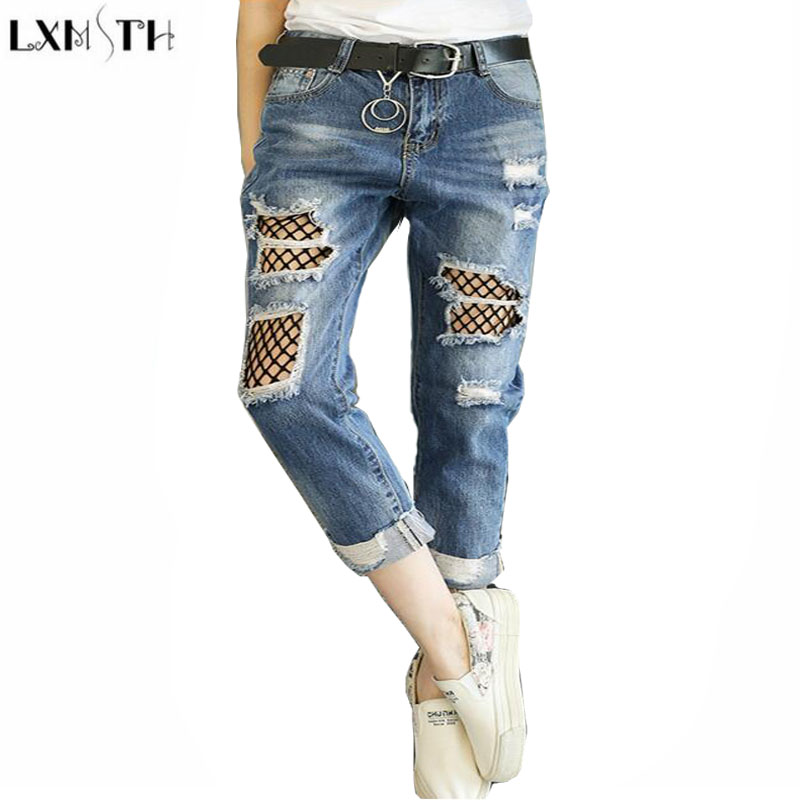 LXMSTH Women Hole jeans  Loose Thin  Womens Vintage High Waisted jeans 2017 Big Size Beggar Ankle-Length Pants Casual 4XL 5XL lxmsth 26 40 large size women jeans 2017 new arrival hole high waist loose jeans woman casual ankle length pants ripped trousers