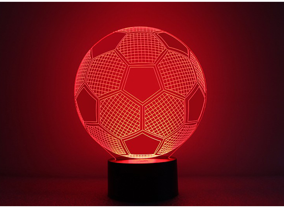 3D Football Illusion Lamp with 17 Key Remote Controller