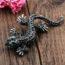 Pins Lizard Brooch For Womens Shirt Cute Silver Gifts Fashion Jewelry Metal Pin Set Enamel Rhinestone Gecko Wicca