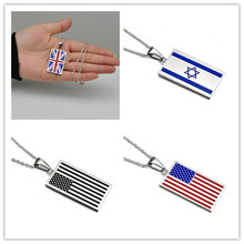 Oulai777 Stainless Steel Mens Necklaces & Pendant Chain women Men Accessories British American Israel Flag Pendants Necklace