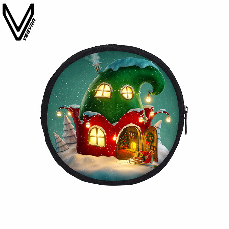 VEEVANV New Christmas Printed Coin Purses Cartoon Santa Claus Round Canvas Wallets Girls Casual Cute Elk Portable Coin Bags