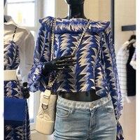Новый 2019 модные летние блузки Для женщин с принтом синего цвета, с длинными рукавами, блузка женские, повседневные, свободные рубашки для ма