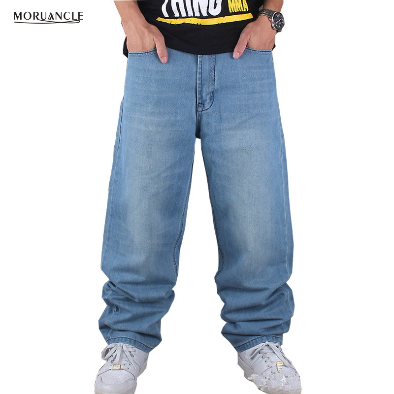 MORUANCLE Hip Hop Jeans Pants For Male Light Blue Plus Size Loose Denim Joggers Baggy Skateboard
