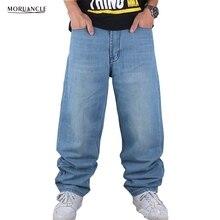 Moruancle hip hop jeans hosen für männer hellblau plus größe Lose Denim Jogger Baggy Skateboard Harem Hose Größe 30-46 E0107