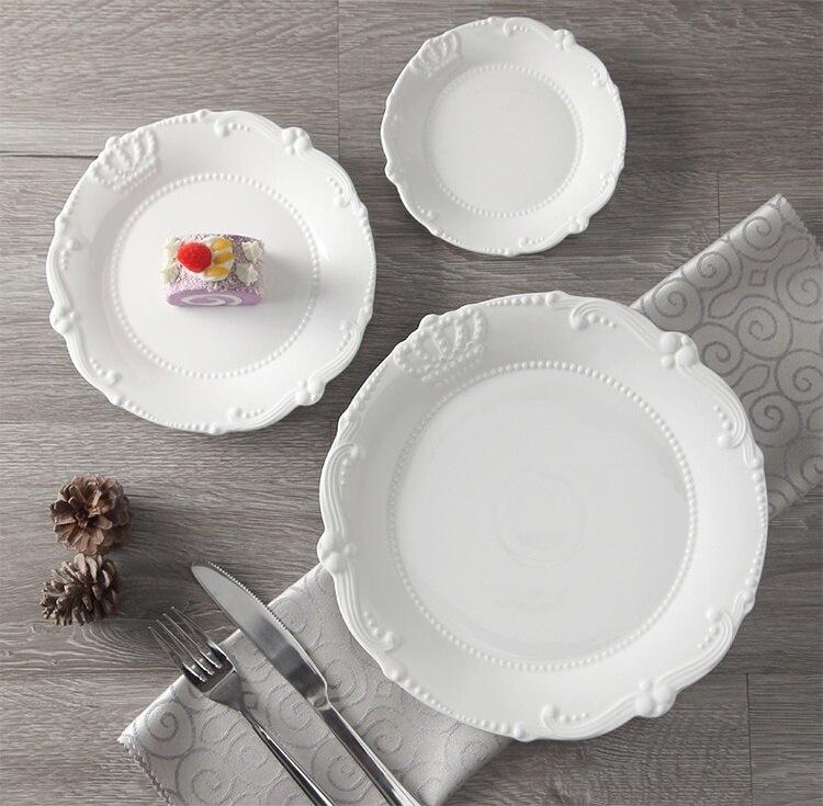 Service d'assiettes en céramique porcelaine | Soulagement de la couronne royale de 6 ''8'' 10 ''assiette principale, plateau de service, vaisselle pour Restaurant, Home café - 3