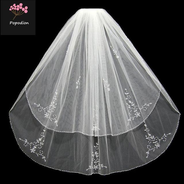 Aliexpress.com   Buy Bridal veil handmade beaded wedding two layer ... 7291378ef2cf