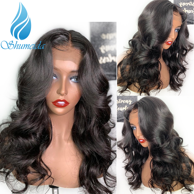 SHUMEIDA Indian Body Wave Lace Front Wigs Pre Plucked Remy Human Hair Wigs Baby Hair 2