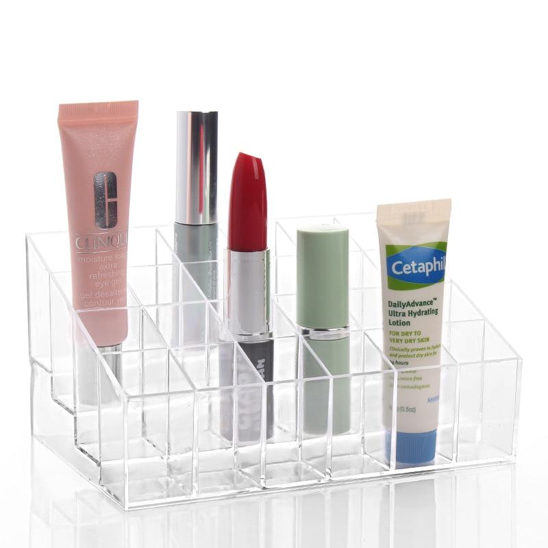 24 Transparent Grid Storage Box Cosmetics Lipstick Make-up Makeup Organizer Storage Box Cosmetic Desktop Storage
