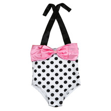 6 Size Baby Girl One Piece Polka Bikini set Cute dot print Bowknot swimming beach wearing Monokini set summer swim suit sale #10