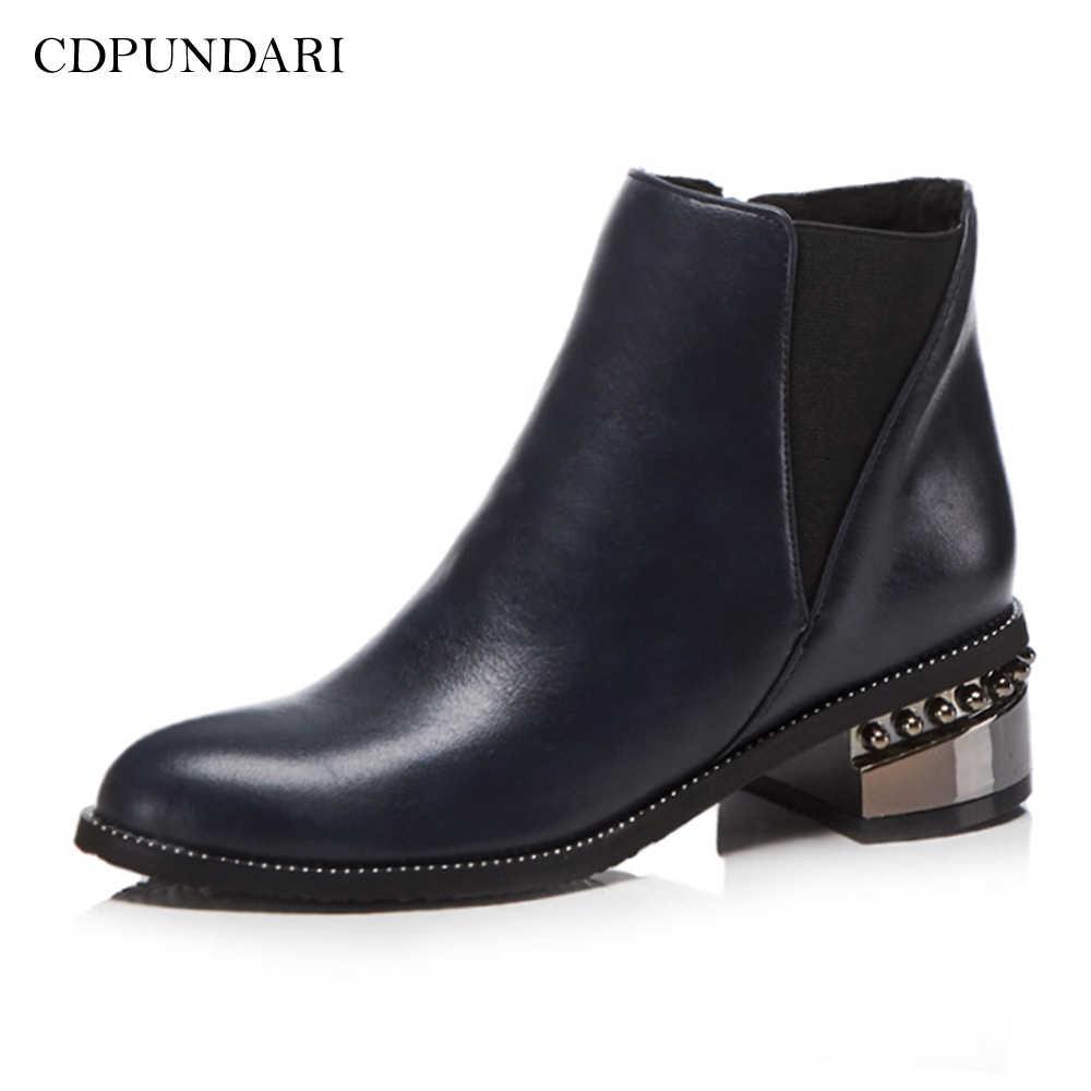 CDPUNDARI Yuvarlak Ayak yarım çizmeler kadınlar için Med topuk Chelsea Çizmeler Bayan kış botu ayakkabı kadın siyah mavi