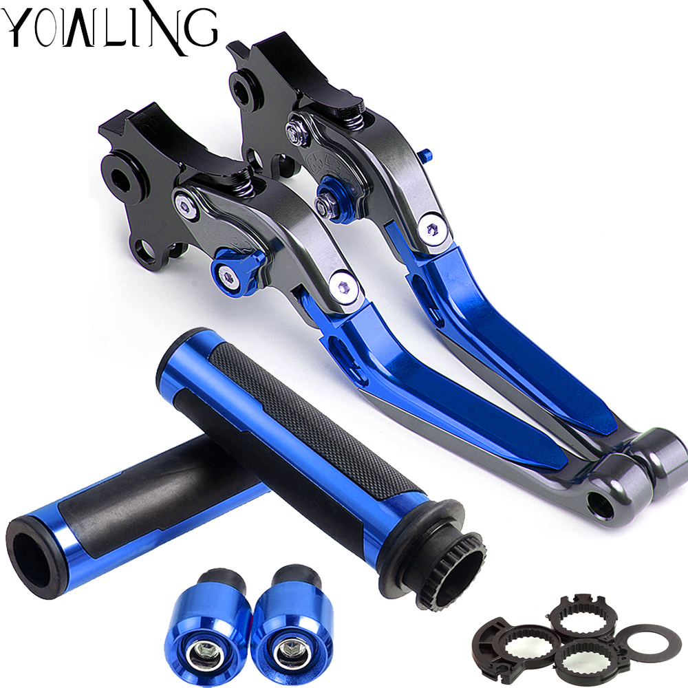 Motorcycle Adjustable Folding Brake Clutch Levers Handlebar Hand Grips For YAMAHA YZF R6 YZF R6 YZFR6