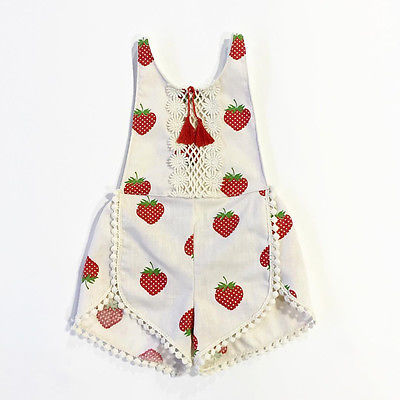 Cute Newborn Infant Baby Girl Strawberry Jumpsuit Bodysuit Outfits  Clothes Set