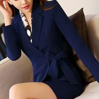 2017 Work Women's V Neck Suits Sets Blazer OL Fashion Plus Size Formal Long Sleeve Office Ladies Blazer Slim Mini A Skirt