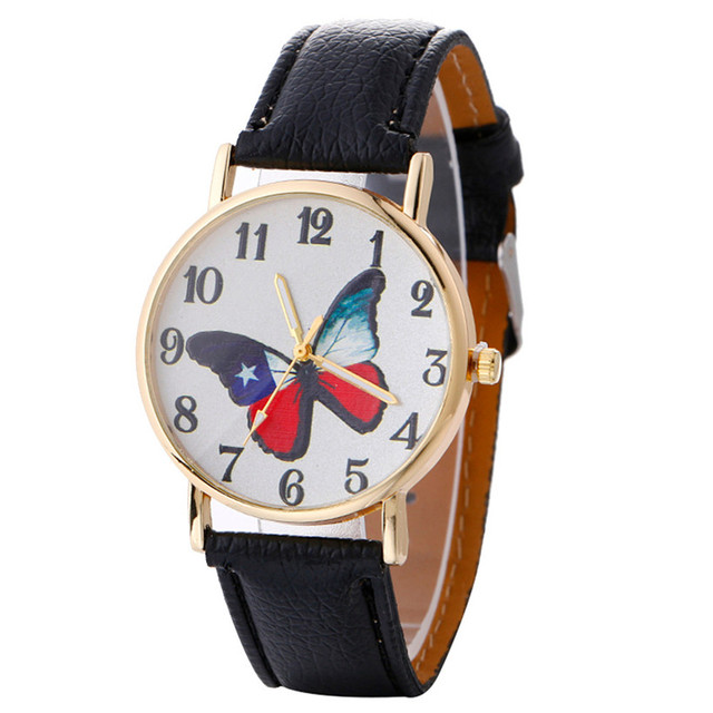 Fashion Women Bracelet Watch Brand Neutral Butterfly Pattern Leather Quartz Wris