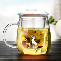 Creative Clear Glass Tea Cups With Lid Infuser My Bottle Jar Juice With Handle Fincan Eco friendly Glass Mug Cups Round DDQ89