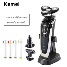 4 in 1 Electric Razor 4 Blade Head Rechargeable Beard And Nose Hair Trimmer Electric Toothbrush Mult