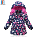 New Brand Children Outerwear Fashion Flower Warm Cotton Down Girl Winter Coat Kids Clothes Baby Girls Jackets For 3-6T