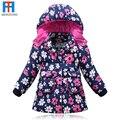 Nueva Marca Niños Prendas de Abrigo Moda Flor de Algodón Caliente Abajo Chica Abrigo de Invierno Ropa de Niños Niñas Bebé Chaquetas Para 3-6 T