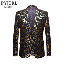 PYJTRL Tide Male DJ Club Gold Floral Pattern Blazer Plus Size 5XL Fahsion Casual Singer Party Costume Slim Fit Suit Jacket Men(China)