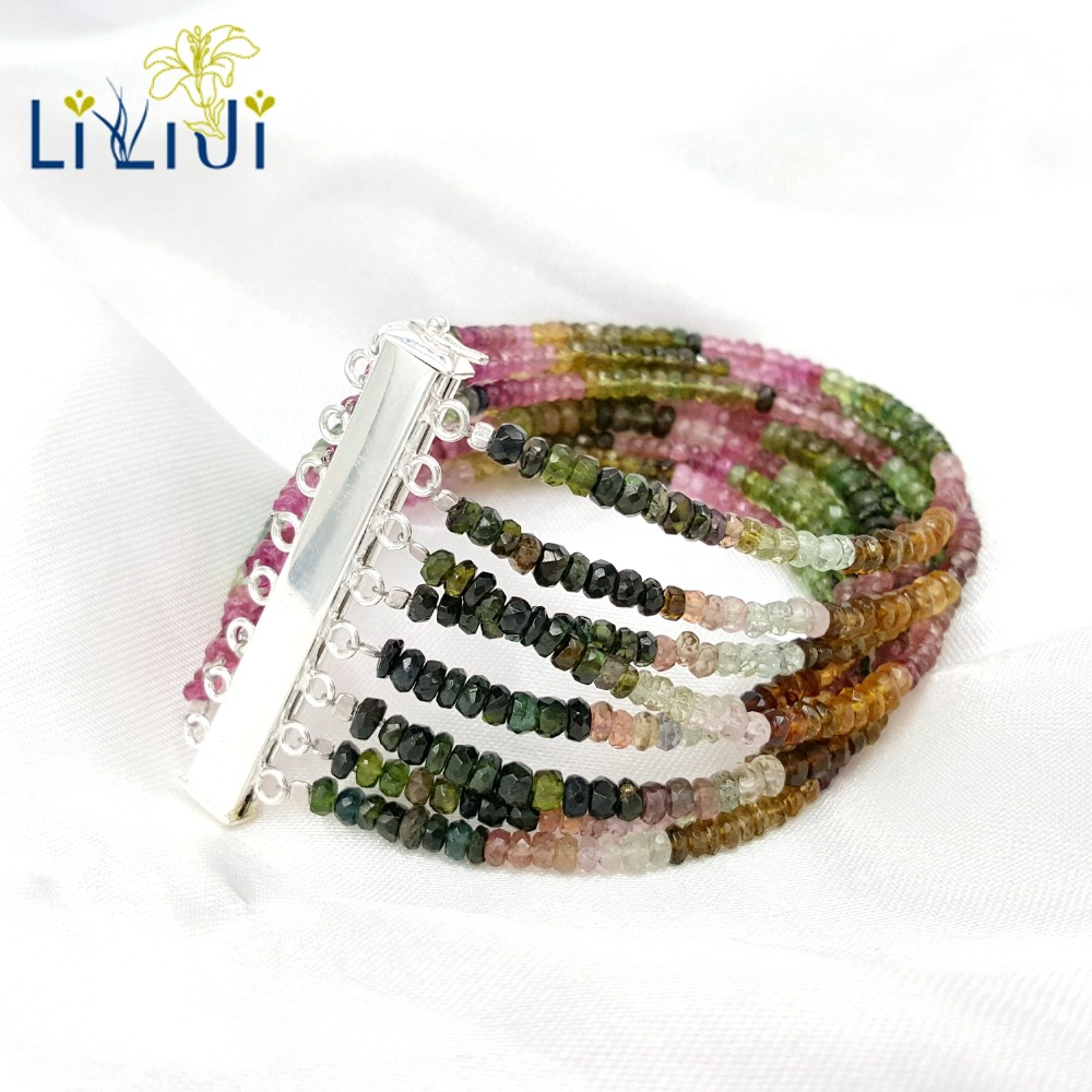 LiiJi Unique Natural Rainbow Tourmalines 925 Sterling Silver Clasp Fashion Jewelry Bracelet For Women/Mother/Girl Friend Gift