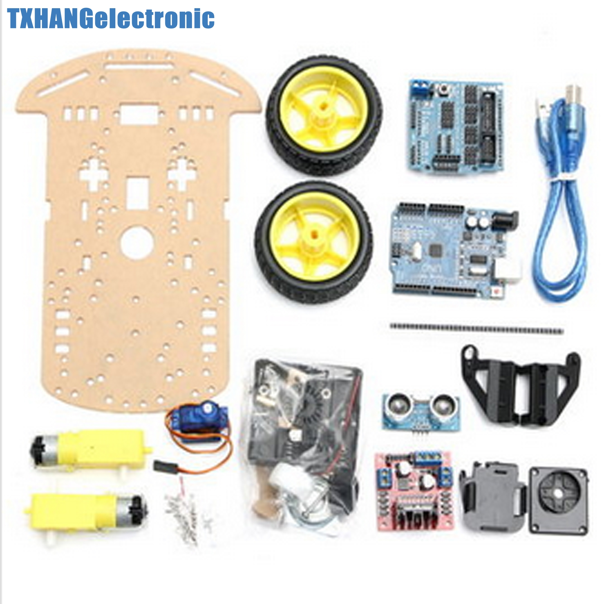 Smart Car Tracking Motor Smart Robot Car Chassis Kit WD Ultrasonic MCU