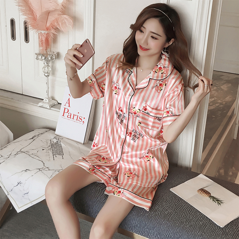 Women Comfortable Silk   Pajama     Set   Girl Print Pyjama   Set   Short Sleeve Sleepwear Suit Women Nightshirt   Set   Short Pant Sleepshirt