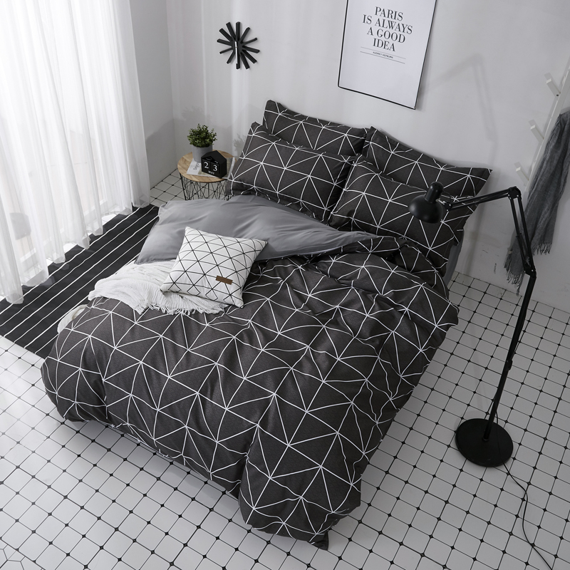 Image 2 - ParkShin 2019 New AB Side Bedding Set Duvet Cover Set King Queen Full Twin Bed Linen Brief Bed Flat Sheet Pillowcases Mans Cover-in Bedding Sets from Home & Garden