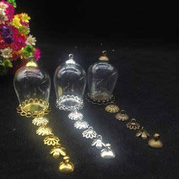 20sets/lot 30*18mm Dome Cloche Glass Bottle Pendant DIY double lace tray Top Terrarium Bottle Charm