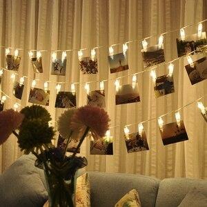 Image 1 - אורות מחרוזת קישוט חתונה אישית כוכבים בעל תמונה קליפ תפאורה חלון חדר ספר סידורי חג המולד סוללה