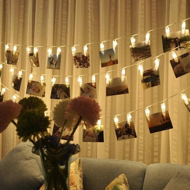 אורות מחרוזת קישוט חתונה אישית כוכבים בעל תמונה קליפ תפאורה חלון חדר ספר סידורי חג המולד סוללה