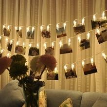 Guirlande lumineuse pour Photo, pour mariage, Clip pour salle de livre, fenêtre, centres de noël, batterie