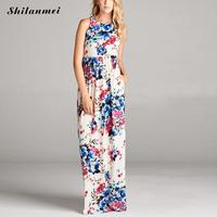 White Flowers Print Frilled Vest Tank Smock Dress Summer Bohemian Dress Multicolor Sleeveless Ladies Maxi Dresses