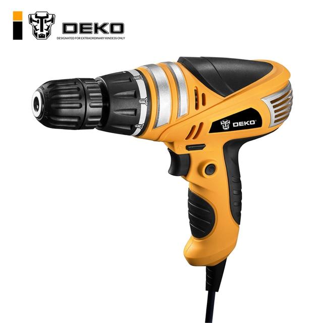 DEKO 220 v 600 w 3/8-Inch עם Keyless כל-מתכת צ 'אק מקדחה חשמלית מברג ביתי כלים מומנט התאמת תרגיל