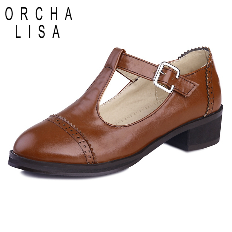 ORCHA LISA Big Size33-44 PU Leather Buckle Shoes for Women Square Low Heels Shoes Round Toe Shoes Female Zapatos Feminina C663